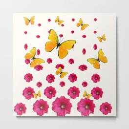 PINK HOLLYHOCKS & YELLOW BUTTERFLY LOVERS ART Metal Print
