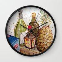 food Wall Clocks featuring Food by Gabi K
