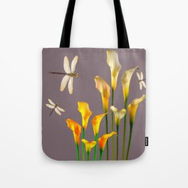 GOLD CALLA LILIES & DRAGONFLIES ON GREY Tote Bag