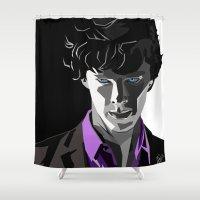 sherlock holmes Shower Curtains featuring Sherlock Holmes Portrait by Schwebewesen • Romina Lutz