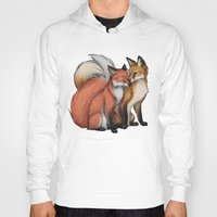 cuddle Hoodies featuring Fox Cuddle by Lyndsey Green Illustration