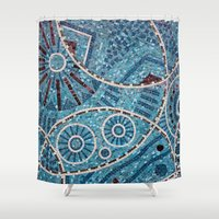 mosaic Shower Curtains featuring mosaic by shannonblue