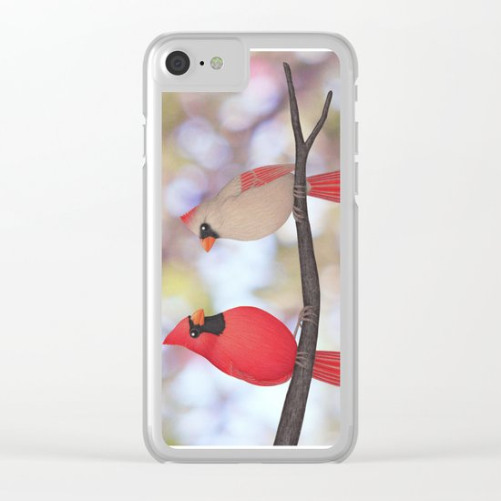 psychedelic cardinals bokeh Clear iPhone Case