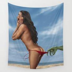Bikini Girl and the Sea Creature Wall Tapestry