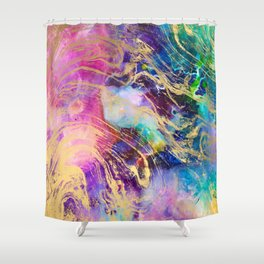 Modern gold marble on pastel pink purple watercolor nebula paint Shower Curtain