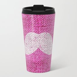 Hipster Funny Mustache On Girly Pink Jute Burlap Travel Mug