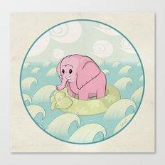 Elephant Across the Sea Canvas Print