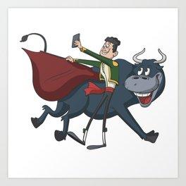 Bullfighter Matador photo with bull Art Print