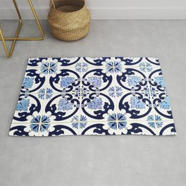 Azulejos, moroccan tiles, Painted tiles, blue, white, portugal Rug