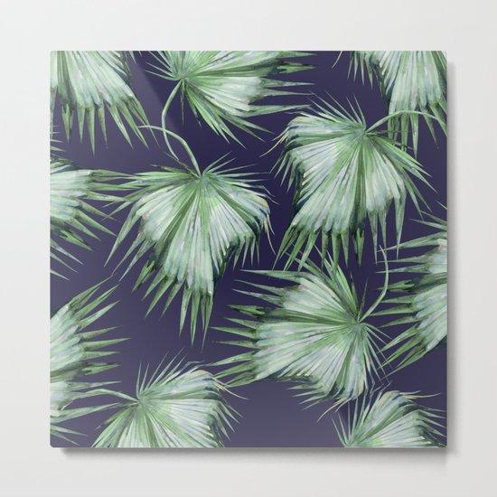 Floating Palm Leaves Blue Metal Print