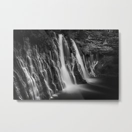Burney Falls in Black and White Metal Print