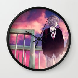 Lone Wolf in the Sunset Wall Clock