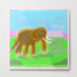 Think Pink Elephant Metal Print