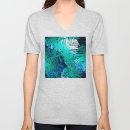 Sophisticated Aqua, Teal Blue & Green Feathered Leaves Unisex V-Neck