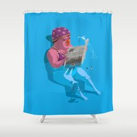hitchcock Shower Curtains featuring Greetings from Hungary III. by Zsolt Vidak