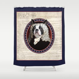 Boston Terrier Founding Father Shower Curtain