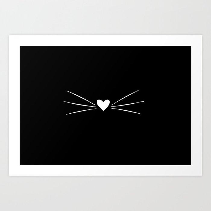 Cat Heart Nose & Whiskers White on Black Art Print