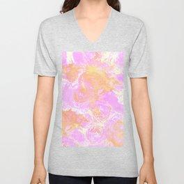 Artistic abstract watercolor pink orange white brushstrokes Unisex V-Neck