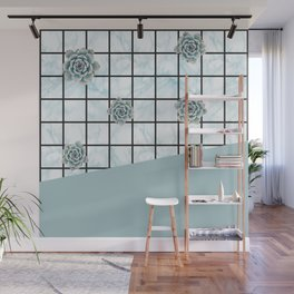 Succulents geometric composition - Mint Green Wall Mural