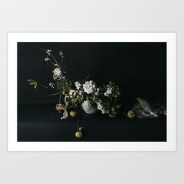 Dutch Floral in White Art Print