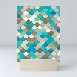 Mermaid Scales, Turquoise, Aqua, Taupe, & Cream Mini Art Print
