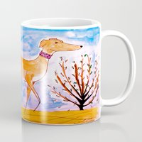 greyhound Mugs featuring Greyhound by Caballos of Colour