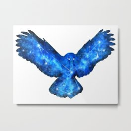 Space Owl | Double Exposure Owl | Owl Constellation | Cosmic Owl Metal Print
