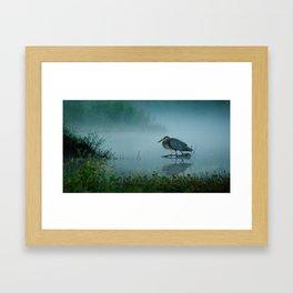 Blue Heron Misty Morning Framed Art Print