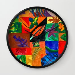 Colourful Plant Collage Wall Clock