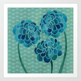 Blue Chrysanthemums Art Print
