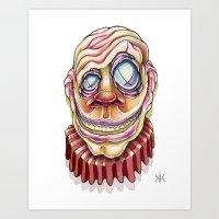 clown Art Prints featuring Clown by Kikillustration