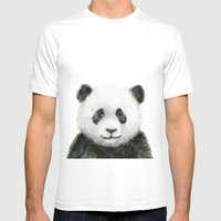Baby Panda Whimsical Animal Watercolor Cute Baby Animals White MEDIUM Mens Fitted Tee