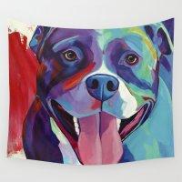 pitbull Wall Tapestries featuring Emma - Pitbull Pop Art by Corina St. Martin Art