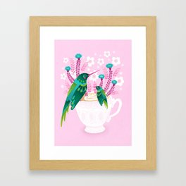 Hummingbirds on Teacup Framed Art Print