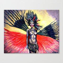 Peacock Warrior Goddess Canvas Print