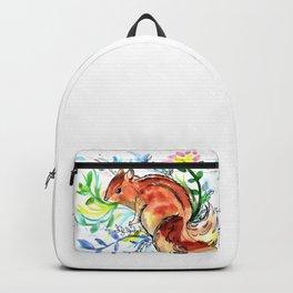 Cute Korea squirrel in sping flowers Backpack