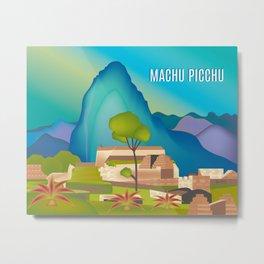 Machu Picchu, Peru - Skyline Illustration by Loose Petals Metal Print