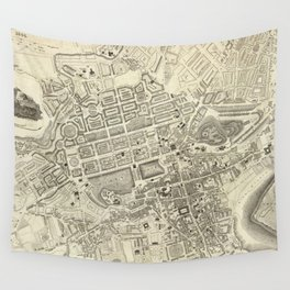 Vintage Map of Edinburgh Scotland (1844) Wall Tapestry