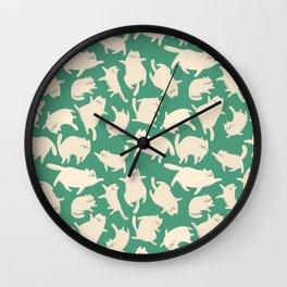White Cats Pattern Wall Clock