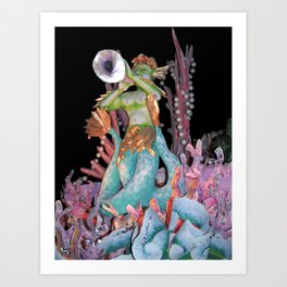 Triton Blows His Horn Art Print