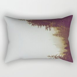 Olive Green Sepia Misty Pine Forest Landscape Photography Parallax Trees Rectangular Pillow