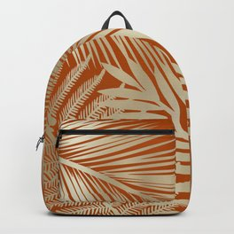 Tropical Palm Leaves, Orange and Gold Backpack