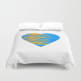 Glitching Hearts — Blue and Orange Duvet Cover