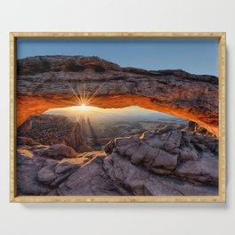 Mesa Arch Sunburst Canyonlands National Park.  by Lena Owens Serving Tray