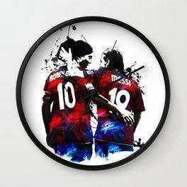 Illustration Ronaldinho And Messi Wall Clock