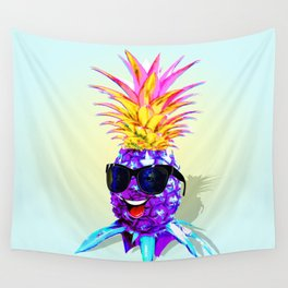 Pineapple Ultraviolet Happy Dude with Sunglasses Wall Tapestry