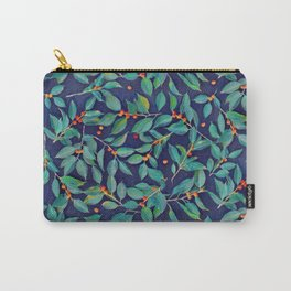 Leaves + Berries in Navy Blue, Teal & Tangerine Carry-All Pouch