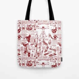 Da Vinci's Anatomy Sketchbook // Dark Red Tote Bag