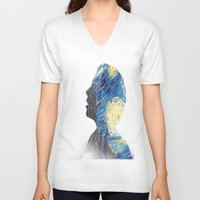 starry night V-neck T-shirts featuring Starry night by rivercbishop