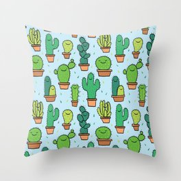 Cute Cactus Cacti Pattern Light Blue Background Throw Pillow